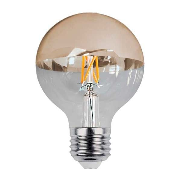 LED-Filament, E27, halb-gold, Ø 95 mm, 7 W, 800 lm, warmweiß